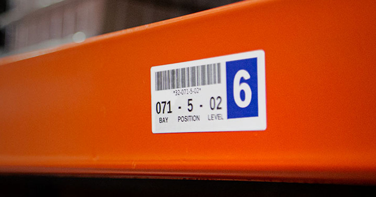 Labels on warehouse racking