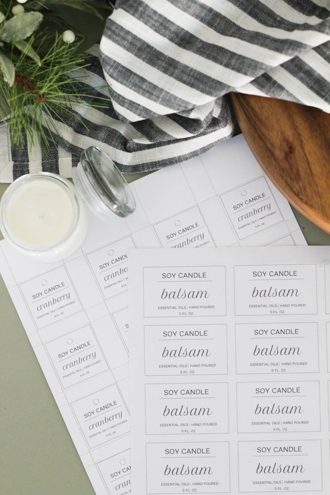Free candle label printables for your Etsy shop, small business, or gift giving
