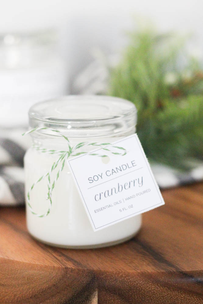 Cardstock tag around candle jar neck: labeling idea