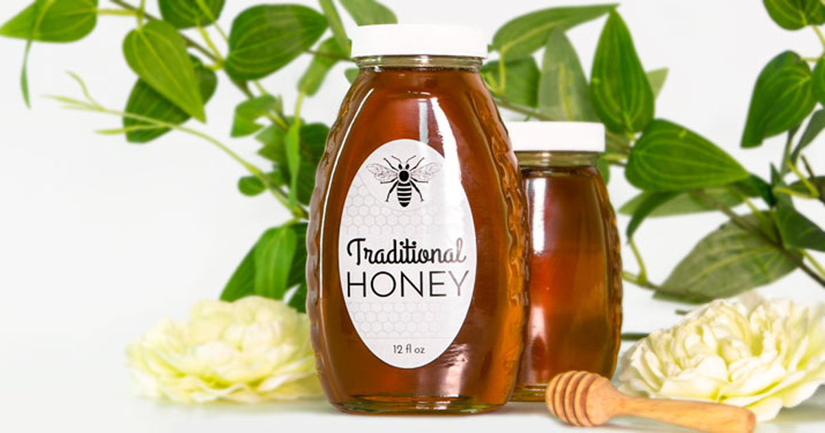 Honey jar with weatherproof white gloss inkjet label
