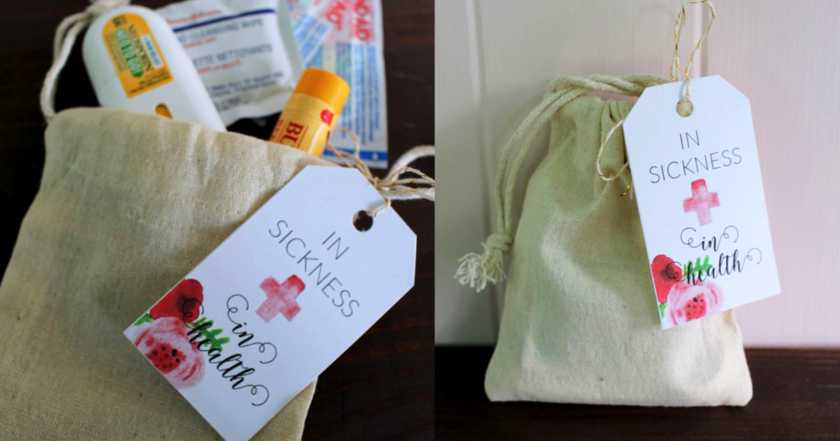 First-aid kit idea + printables for including in wedding welcome bags