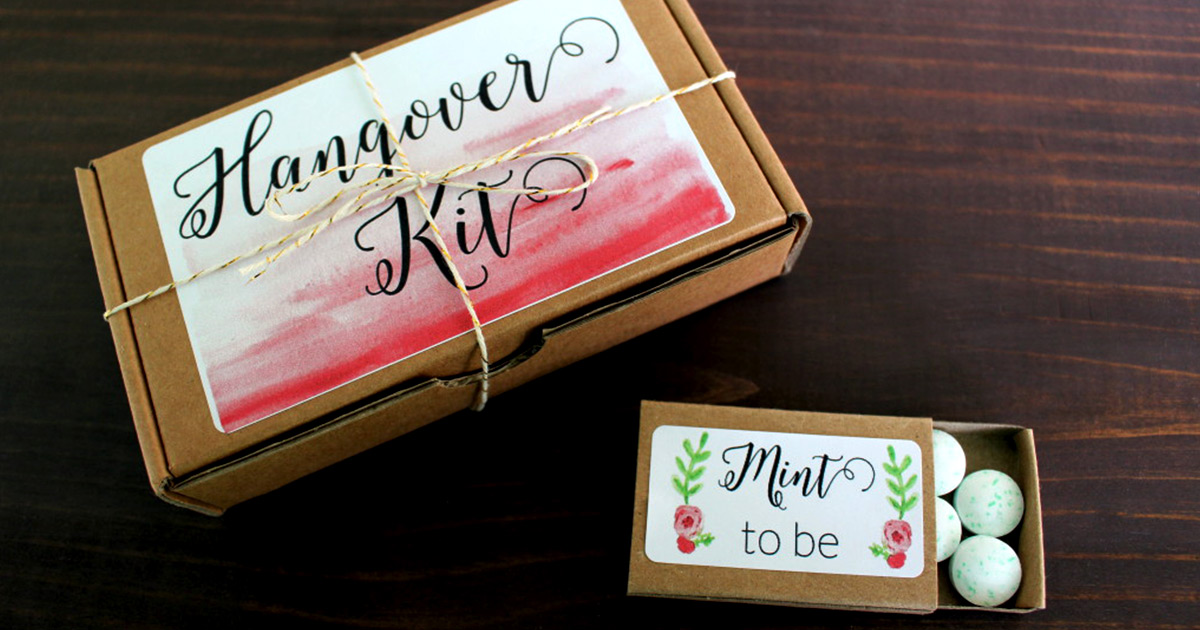 "Cute hangover kit idea and ""Mint to Be"" mint tins + printables for wedding welcome bags"