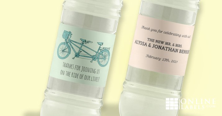 Create custom water bottles for your wedding with this free set of water bottle label templates