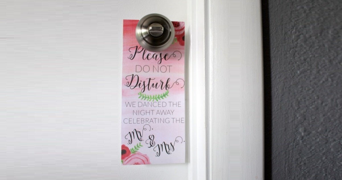 Help guests sleep in after your wedding with these printable door hangers