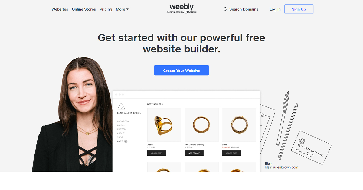 Weebly homepage: webstore option for small businesses.