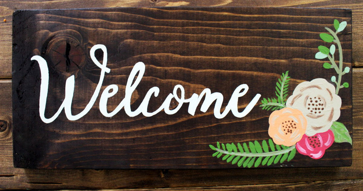 "DIY ""welcome"" outdoor calligraphy wedding sign"