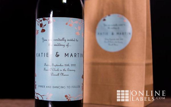 Custom wine bottle label with white gloss finish