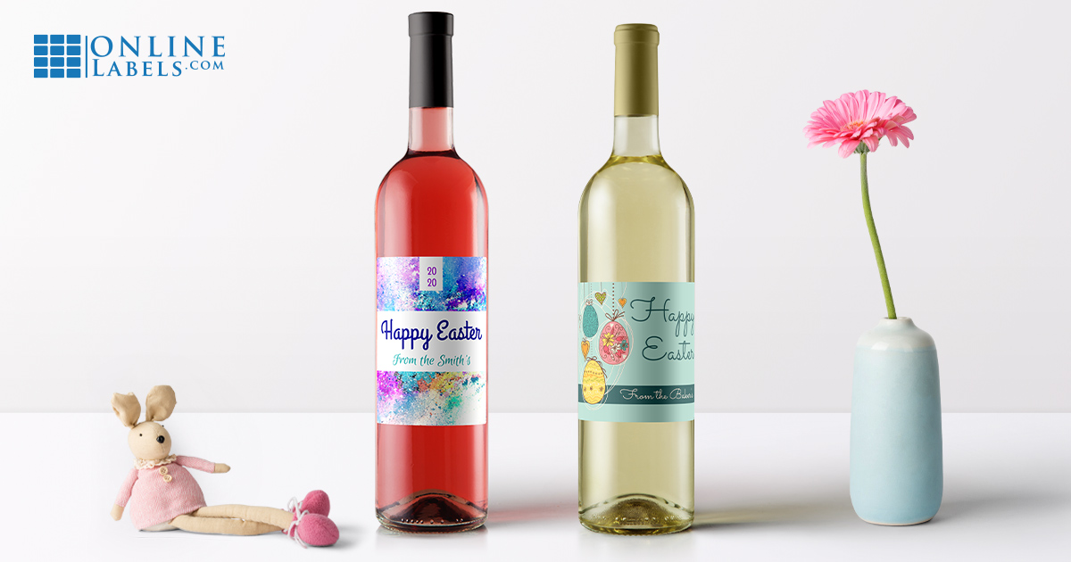 Free printable beer bottle and wine bottle label templates for Easter