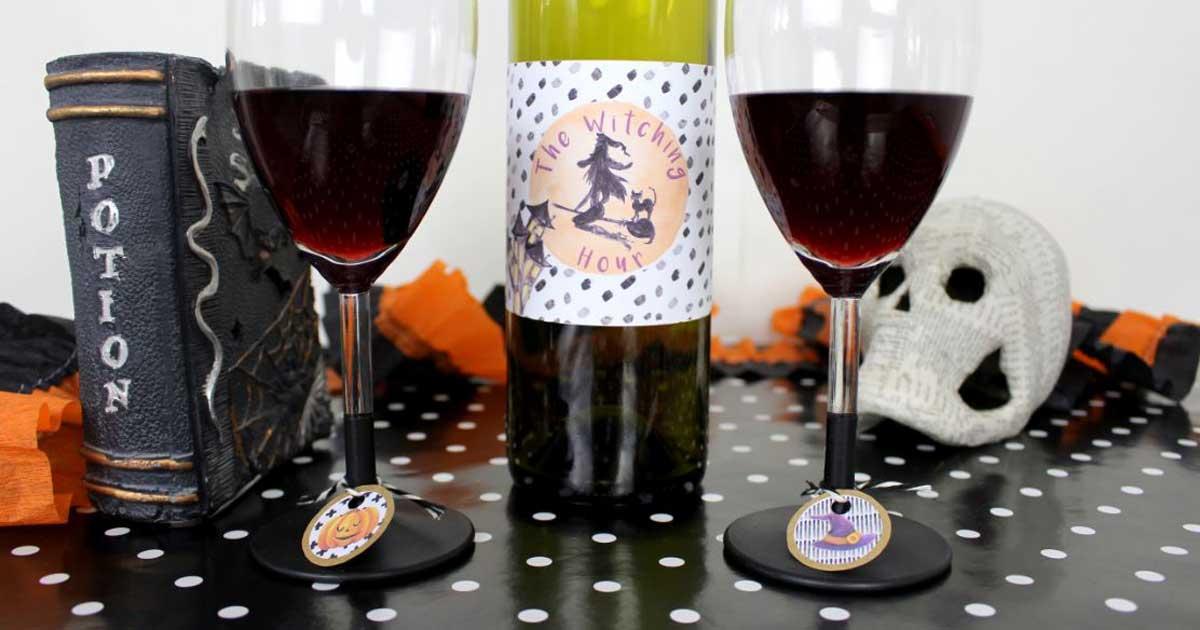 Halloween wine bottle label template
