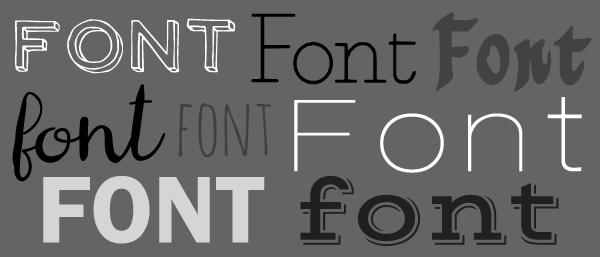 "The word ""font"" written in various different fonts"