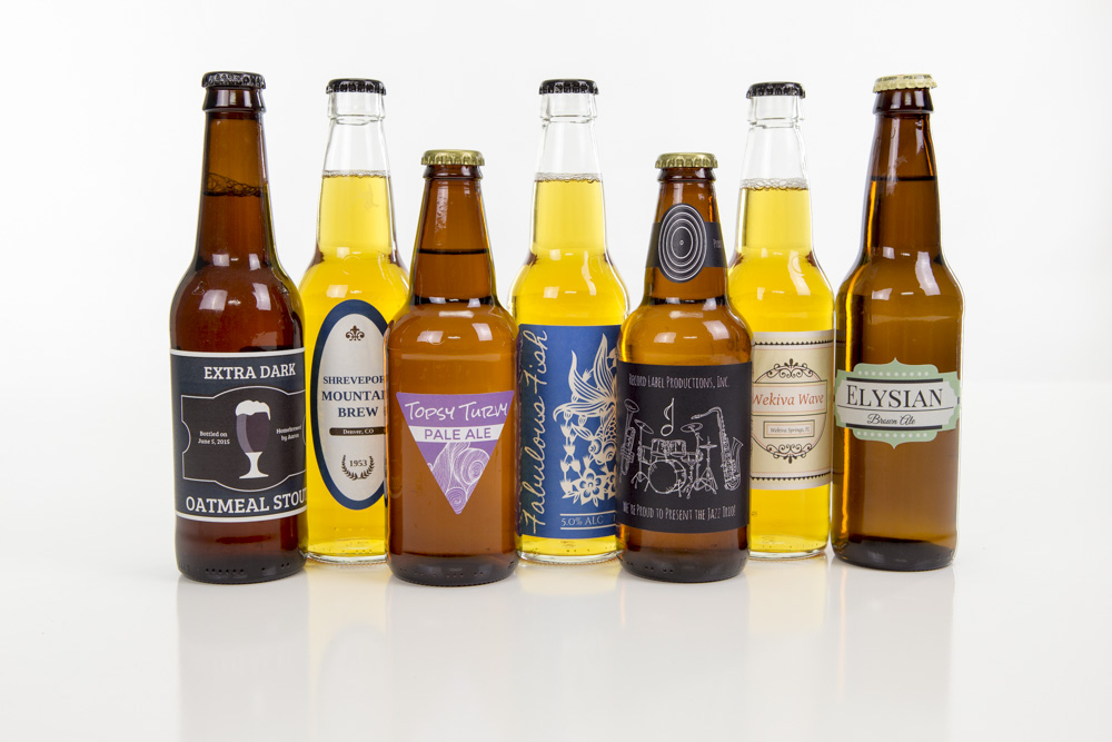Styles and types of beer bottle labels
