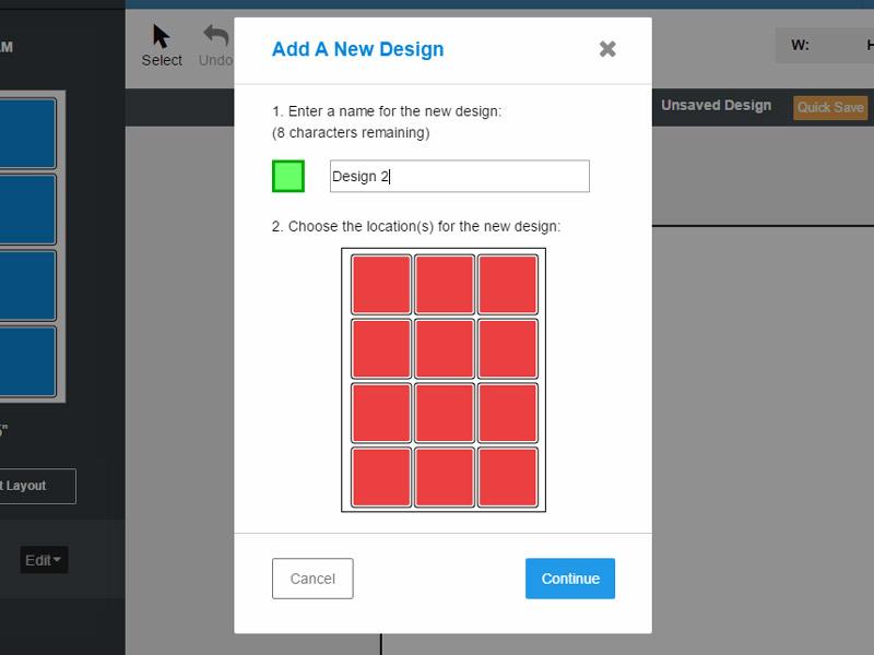 The Add A New Design multi design popup