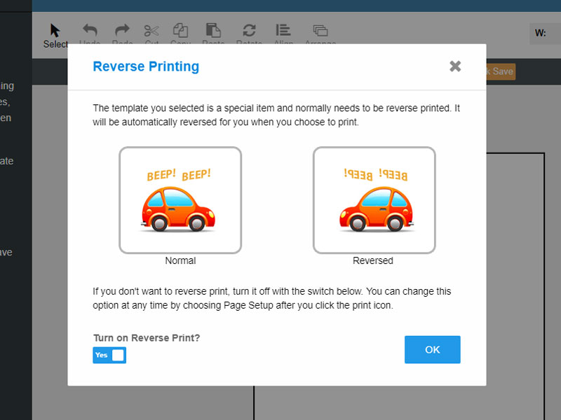 Confirming you want to enable reverse printing