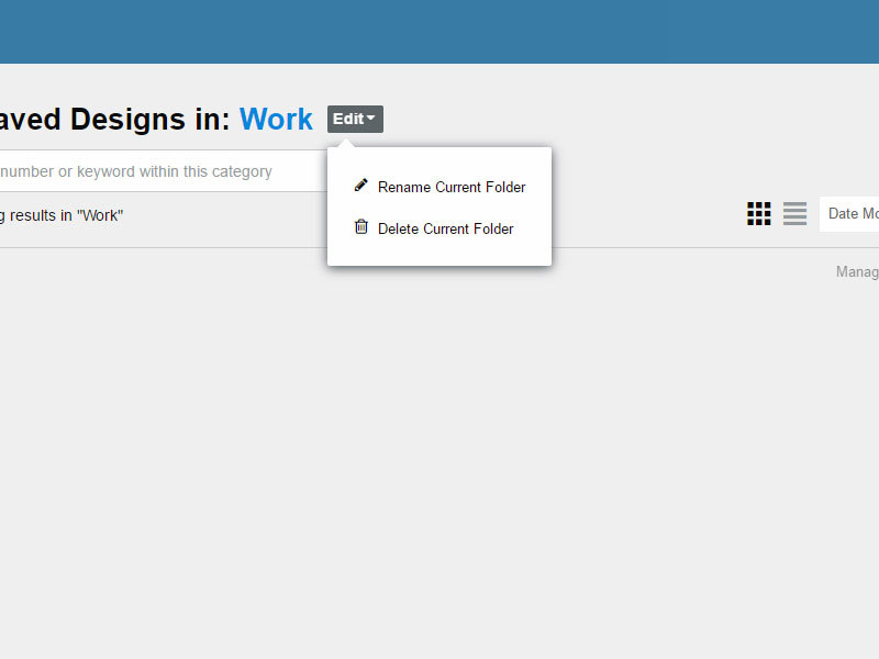 The edit folder menu options