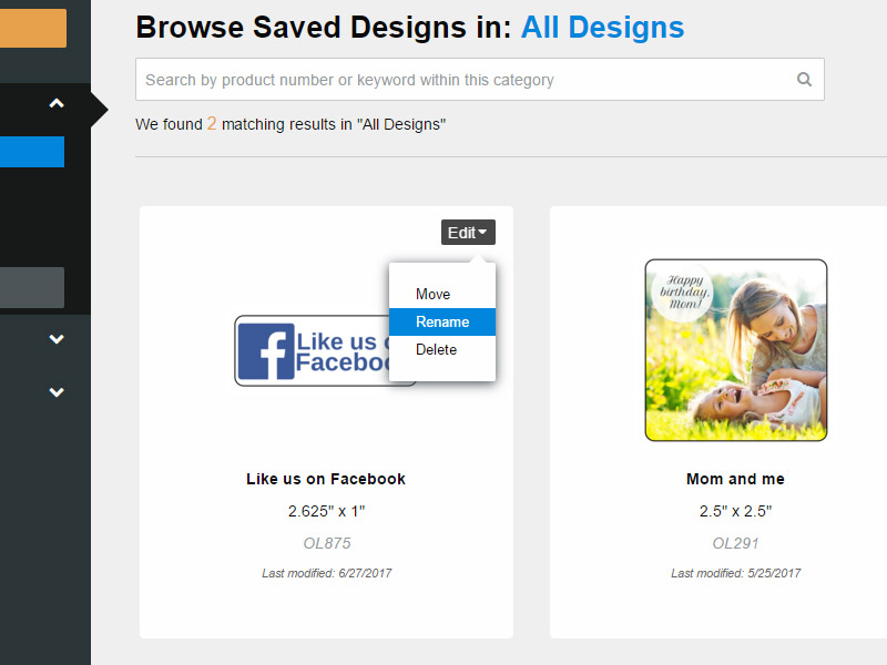 Selecting 'rename' from a design's edit menu options