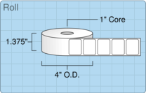 """Roll of 1.25"""" x 1""""  Thermal  labels"""