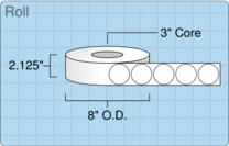 """Roll of 2"""" Circle  Thermal  labels"""