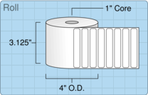 """Roll of 3"""" x 0.5""""  Thermal  labels"""