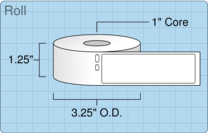 """Roll of 1.1"""" x 3.5""""  Thermal  labels"""