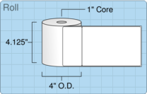 """Roll of 4"""" x 6"""" with 2"""" Doc Tab  Thermal  labels"""