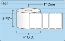 """Roll of 2.625"""" x 1""""  Thermal  labels"""