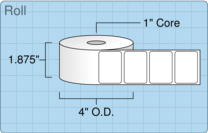 """Roll of 1.75"""" x 1.25""""  Thermal  labels"""