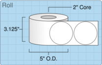 """Roll of 3"""" Circle  Inkjet  labels"""