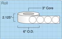 """Roll of 2"""" Circle  Inkjet  labels"""
