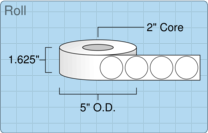 """Roll of 1.5"""" Circle  Inkjet  labels"""