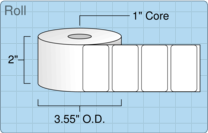 """Roll of 2"""" x 1.125""""  Thermal  labels"""