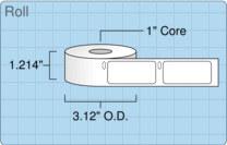 """Roll of 1"""" x 2.125""""  Thermal  labels"""