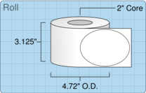"""Roll of 3"""" x 4"""" Oval  Inkjet  labels"""