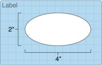 """Roll of 2"""" x 4"""" Oval  Inkjet  labels"""