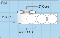 """Roll of 2.5"""" Circle  Inkjet  labels"""