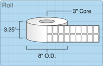 """Roll of 1.5"""" x 1""""  Thermal  labels"""