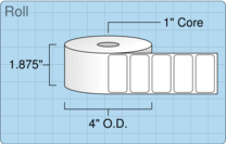 """Roll of 1.75"""" x 0.875""""  Thermal  labels"""
