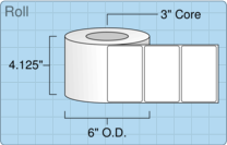 """Roll of 4"""" x 2.5""""  Inkjet  labels"""