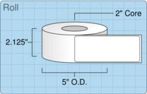 """Roll of 2"""" x 5""""  Inkjet  labels"""