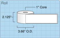 """Roll of 2"""" x 7""""  Thermal  labels"""