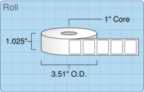 """Roll of 0.9"""" x 0.75""""  Thermal  labels"""