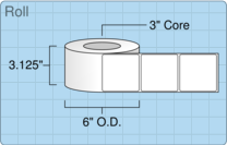"""Roll of 3"""" x 3""""  Inkjet  labels"""
