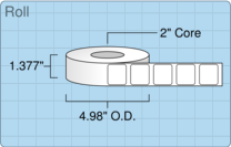 """Roll of 1.2523"""" x 1.133""""  Inkjet  labels"""