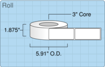 """Roll of 1.75"""" x 4""""  Inkjet  labels"""