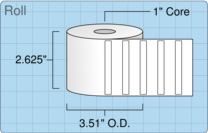 """Roll of 2.5"""" x 0.3125""""  Thermal  labels"""