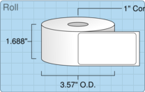 """Roll of 1.5625"""" x 2.8438""""  Thermal  labels"""
