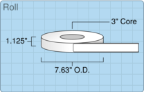 """Roll of 1"""" x 8""""  Thermal  labels"""