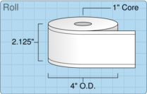 """Roll of 2"""" x 129' Continuous Feed  Thermal  labels"""