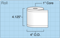 """Roll of 4"""" x 129' Continuous Feed  Thermal  labels"""