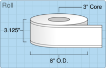 """Roll of 3"""" x 515' Continuous Feed  Thermal  labels"""