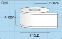 """Roll of 4"""" x 515' Continuous Feed  Thermal  labels"""
